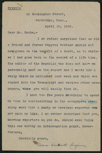 Letter, April 5, 1903 Thomas Wentworth Higginson to James Jeffrey Roche