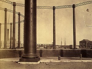 Gas holder tanks and columns, Bay State Gas Company