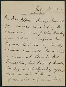 Letter, July 7, 1902, Peter Dunne to James Jeffrey Roche