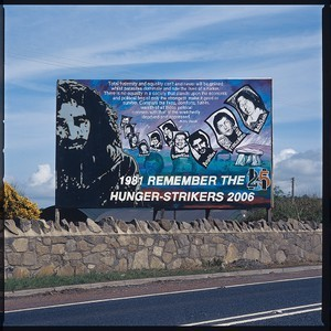 Bobby Sands and other hunger strikers mural. To commemorate the 25th anniversary of their deaths in 1981. This mural was on the main Dublin to Belfast road, at the border at Killeen, near Newry