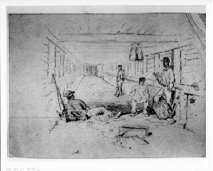 Camp Sketches: Interior of a Bombproof (Siege of Petersburg)