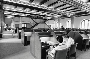 Bapst Library: View of mezzanine from Kresge Reading Room