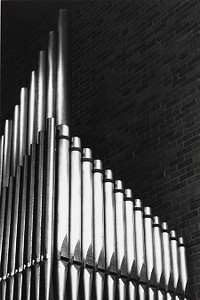 Organ pipes, possibly from a church organ