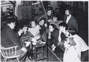 Boston College students engaged in discussion with Paul Marcoux (left)