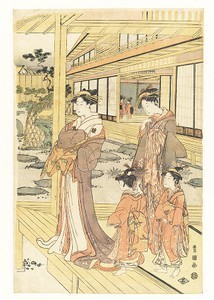 Courtesan and Attendants on a Veranda Overlooking a Garden, woodblock print, ink and color on paper
