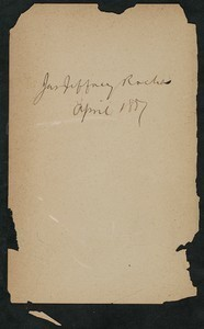 James Jeffrey Roche autograph, August 1887