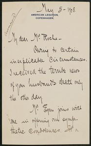 Letter, May 5, 1908, Maurice Francis Egan to James Jeffrey Roche