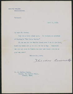 Letter, March 3, 1903, Theodore Roosevelt to James Jeffrey Roche
