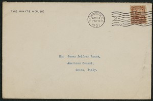Envelope, April 14, 1907, Theodore Roosevelt to James Jeffrey Roche