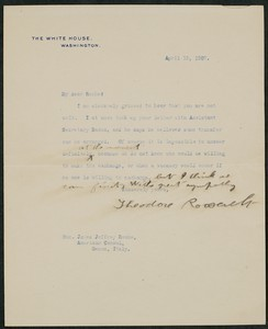 Letter, April 13, 1907, Theodore Roosevelt to James Jeffrey Roche