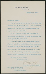 Letter, November 27, 1907, Theodore Roosevelt to James Jeffrey Roche