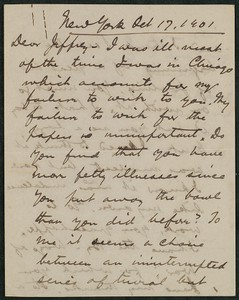Letter, October 17, 1901, Peter Dunne to James Jeffrey Roche