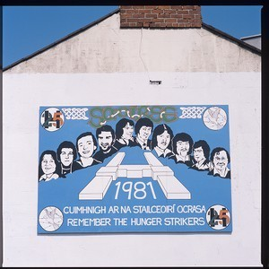 H-Blocks image and names of hunger strikers mural. To commemorate the 25th anniversary of their deaths in 1981. This mural was on the main Dublin to Belfast road, at the border at Killeen, near Newry