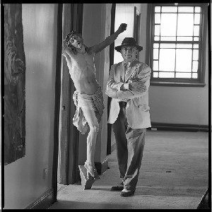 Bill Gatt, artist/painter. Portraits taken at his studio which was formerly the Good Shepherd Convent on the Ravenhill Road, Belfast. In some he is pictured with a life-size crucifix