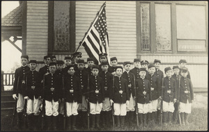 Boys Brigade with flag at Sunset Avenue School, Sunset Avenue