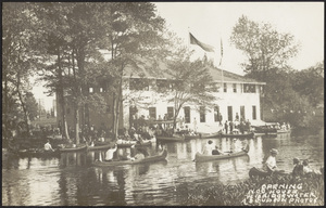 Opening of Nanckatessett Canoe Club House looking southwest across Town River