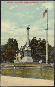 Soldiers' Monument with flag