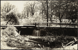 Winter scene of town dam
