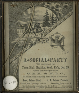 A Social Party: Halifax Town Hall, Halifax, Massachusetts, October 29 [1880s]