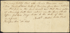 Marriage Intention of Thomas Lewis and Huldah Wood, 1821