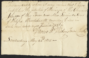 Marriage Intention of Ebenezer Johnson and Lucinda Sears, 1826