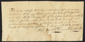 Marriage Intention of George Washington Jackson of Bridgewater, Massachusetts and Molly Briggs, 1804