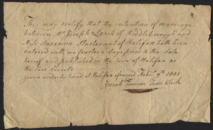 Marriage Intention of Joseph Leach of Middleborough, Massachusetts and Susanna Sturtevant, 1801