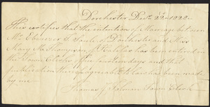 Marriage Intention of Ebenezar Soule of Dorchester, Massachusetts and Mary M. Thompson, 1828