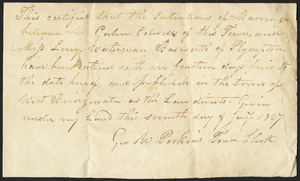 Marriage Intention of Galen Colwell of West Bridgewater, Massachusetts and Lucy W. Bosworth of Plympton, Massachusetts, 1827