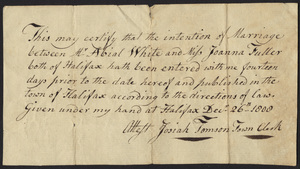 Marriage Intention of Abial White and Joanna Fuller, 1800