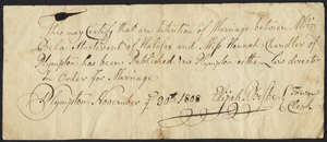 Marriage Intention of Bela Sturtevant and Hannah Chandler of Plympton, Massachusetts, 1808