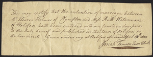 Marriage Intention of Eleazer Holmes of Plympton and Ruth Waterman, 1803