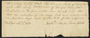 Marriage Intention of Lt. Daniel Soule of Plympton And Lucy Waterman, 1818