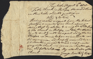 Transfer membership of Deborah Josselyn from 2nd Church in Pembroke, Massachusetts to the Church in Halifax, Massachusetts, August 15, 1810