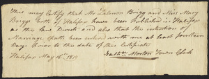 Marriage Intention of Zalmon Briggs and Mary Briggs, 1819