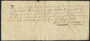 Marriage Intention of Zebadiah Tomson Jr. and Martha Briggs, 1805