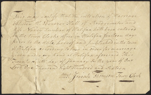 Marriage Intention of Ebenezer Hall of Bridgewater, Massachusetts and Nancy Dunbar, 1816