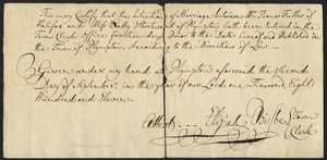 Marriage Intention of Thomas Fuller and Sally Sturtevant of Plympton, Massachusetts, 1811
