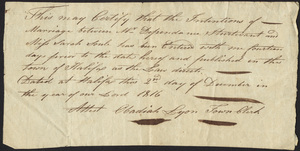 Marriage Intention of Dependance Sturtevant and Sarah Soule, 1816