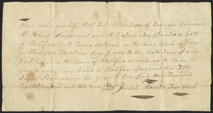 Marriage Intention of Ward Sturtevant and Lucinda Christian, 1816