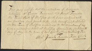 Marriage Intention of George Drew and Sarah Thomson the Third, 1810