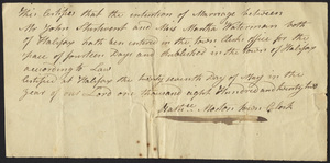 Marriage Intention of John Sturtevant and Martha Waterman, 1822