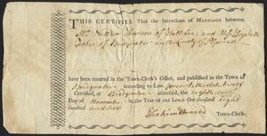 Marriage Intention of Nathan Thomson and Elizabeth Fobes of Bridgewater, Massachusetts, 1802