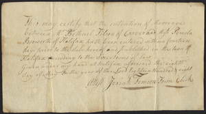 Marriage Intention of Bethuel Tilson of Carver, Massachusetts and Pemela Bosworth, 1808