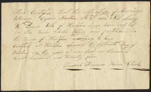 Marriage Intention of Cyrus Morton, MD and Lucy W. Drew, 1825