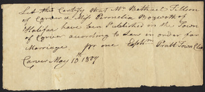 Marriage Intention of Bethuel Tilson of Carver, Massachusetts and Pemela Bosworth, 1804