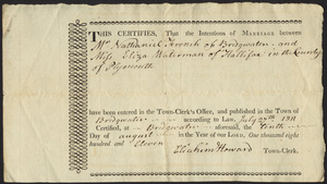 Marriage Intention of Nathaniel French of Bridgewater, Massachusetts and Betsy Waterman, 1811