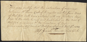 Marriage Intention of Isaac Cook of Kingston, Massachusetts and Jane Drew, 1802