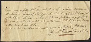 Marriage Intention of Melvin Wade of Bridgewater, Massachusetts and Lydia Holmes, 1803
