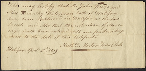 Marriage Intention of John Wood and Diantha Waterman, 1819